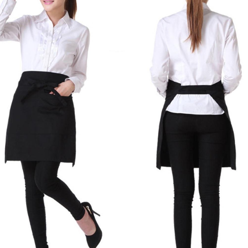 White half apron ruffle - Black Universal Unisex Kitchen Cooking Hotel Chef Aprons Chef Uniforms Waist Apron Short Apron Waiter Apron With Double Pockets