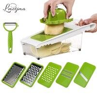 LMETJMA Mandoline Slicer Julienne Slicer Vegetable Slicer Set With 5 Interchangeable Stainless Steel Blades Kitchen Tool