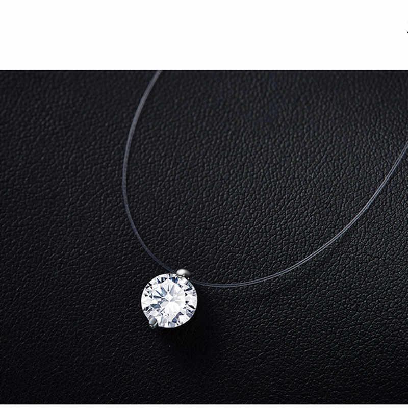 2019 ขายร้อน silver dazzling zircon สร้อยคอและที่มองไม่เห็นสายง่ายจี้และสร้อยคอ