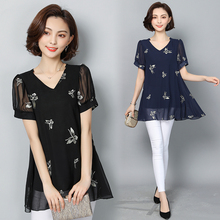 M-6XL New Women's Chiffon Blouse Shirt Summer 2018 Fashion Elegant Butterfly Embroidery Short-sleeve V-neck Loose Tops Plus si
