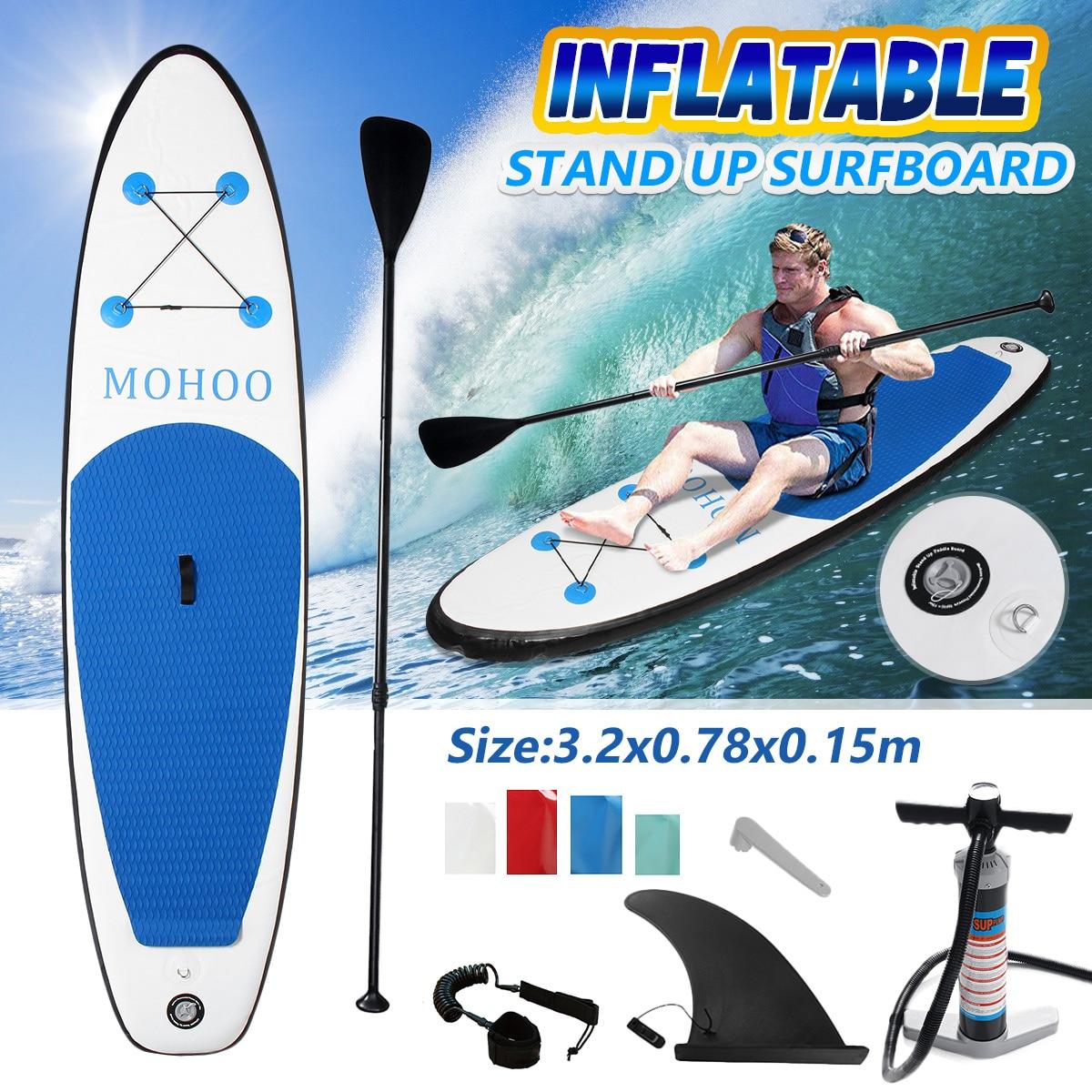 Inflable de tabla de surf 320x78x15 cm tabla de surf Paddle surf Junta agua deporte Junta + bomba juego de Herramientas de cuerda de seguridad