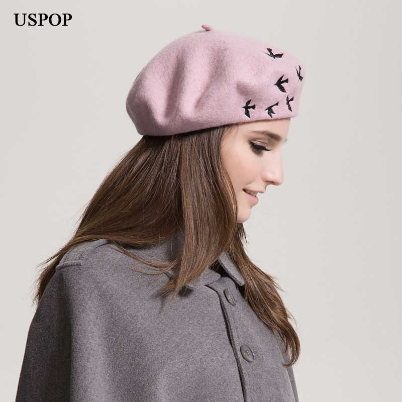 USPOP Hot Fashion women berets female 100% wool beret casual wool thick warm winter hat cute bird embroidery berets painter hat