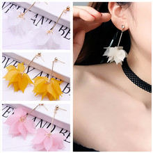 E0316 Korean Style Pink Flower Long Drop Earrings For Women Sweet Dangle Earring Fashion Party Wedding Jewelry High Quality Gift(China)