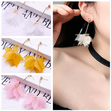E0316 Korean Style Pink Flower Long Drop Earrings For Women Sweet Dangle Earring Fashion Party Wedding Jewelry High Quality Gift