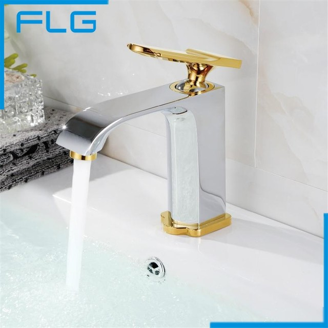 Free Shipping Luxury Soild Brass Gold And Chrome Bathroom Faucet