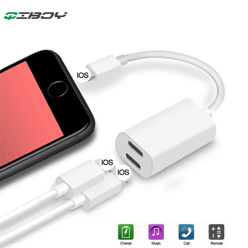 Headphone Adapter For IPhone 7/8/X Double Lighting Jack 2 In 1 Connector Splitter Charger To Earphone  Audio AUX Cable Converter