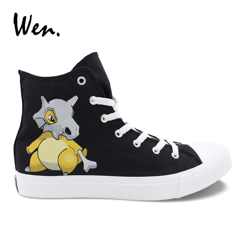 badf76058328cf Wen Canvas Women Men Sneakers Design Anime Pocket Monster Shoes Hand  Painted Cubone Pokemon Athletic Shoes Black High Tops