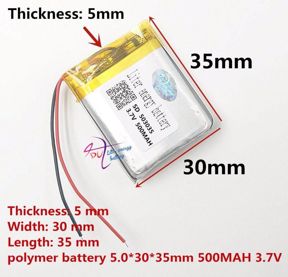 Liter energy battery 503035 500mAh 3.7V driving recorder head Dai Bluetooth headset speaker rechargeable batteries image