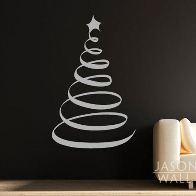 Large Swirl Xmas Christmas Tree Star Festival Turning Circle Pattern Window  Wall Sticker Mural Decal Wallpaper 60cmX100cm Home