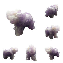 Elephant Design Natural Stones Craving Jade Marble Office Crafts Mini Good Luck Elephant Feng Shui Statue Desktop Decor 6 Types(China)