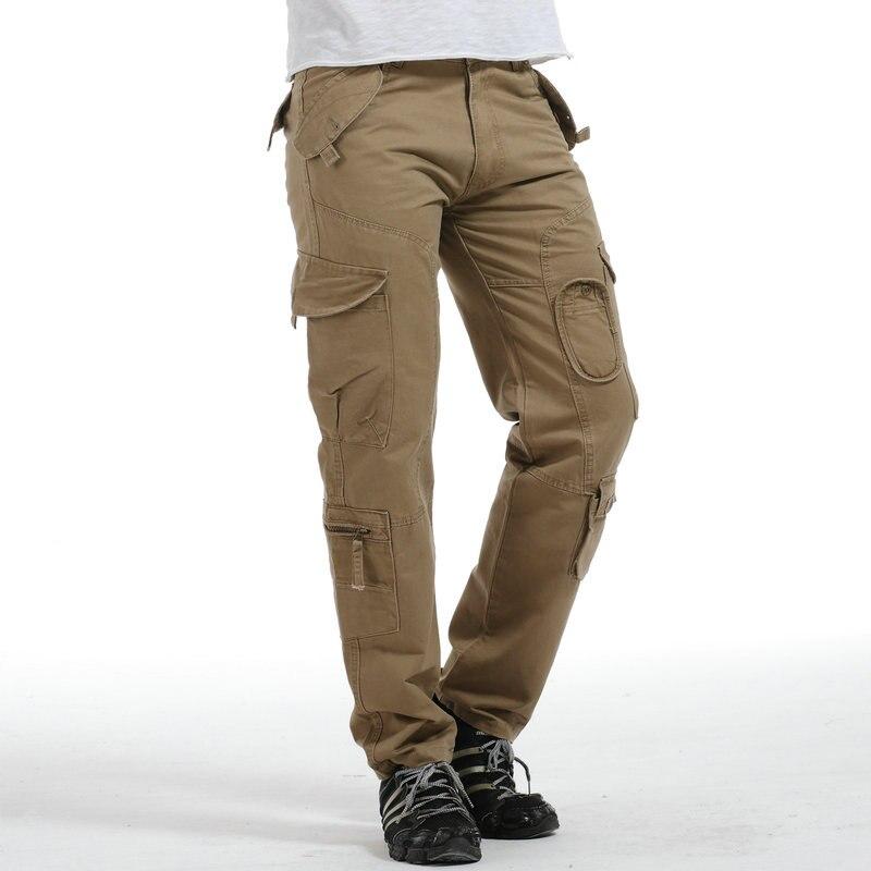 2018 Heiße Mode Militär Cargo Hosen Männer Casual Baumwolle Multi Tasche Gerade Taktische Männer Hosen
