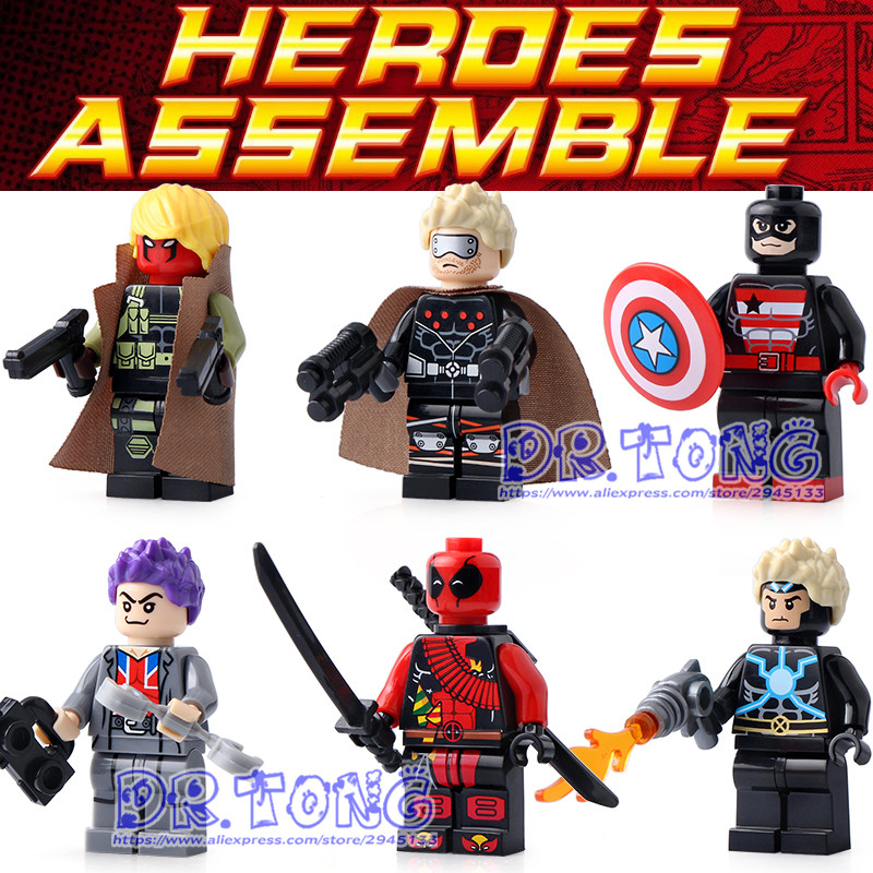 DR.TONG 10set SY672 Super Hero Deadpool Spider-Man Iron Man Thor Captain America Duck Building Blocks Children Gift Toys dr tong 80pcs lot sy670 super heroes deadpool spider man iron man thor duck figure building blocks bricks education action toys