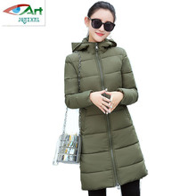 JQNZHNL Women Winter Coat Feather Cotton-padded Coats Medium long Hooded Outerwear Solid color Warm Down Jacket Plus size AS363
