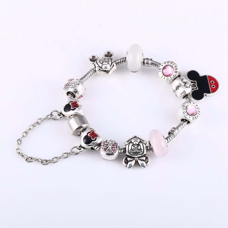 pulseira feminina Mickey Minnie Charms Beads Bracelet DIY Original Pandor Snake Chains Bracelets Bangles For Women berloque gift