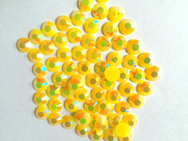 5 mm geléia amarelo AB cor SS20 strass resina cristal flatback, Nail Art strass, 30,000 pçs/saco