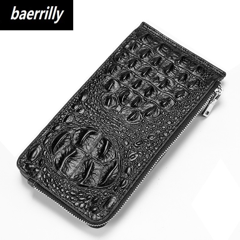 Famous Brand Women Long Clutch Wallet Zipper Hasp Coin Purse Genuine Leather 3D Embossing Alligator Lady Crocodile Card Wallets pu leather women wallet 2017 long zipper lady purse luxury brand famous design wallets coin purse with card holder clutch 500681