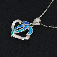 Double Heart Pendants Blue Fire Opal Necklace For Women Romantic Lover Christmas Gifts PJ180219006 5