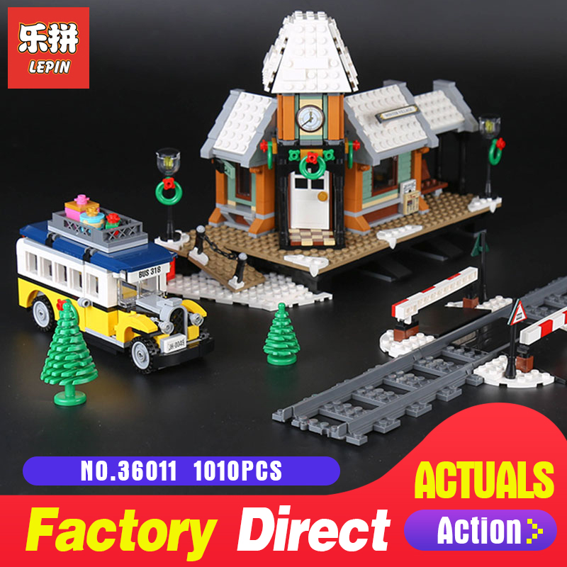 Lepin 36011 1010Pcs Creative the 10259 Winter Village Station Set model Building Blocks Toys Model for Children Christmas Gifts