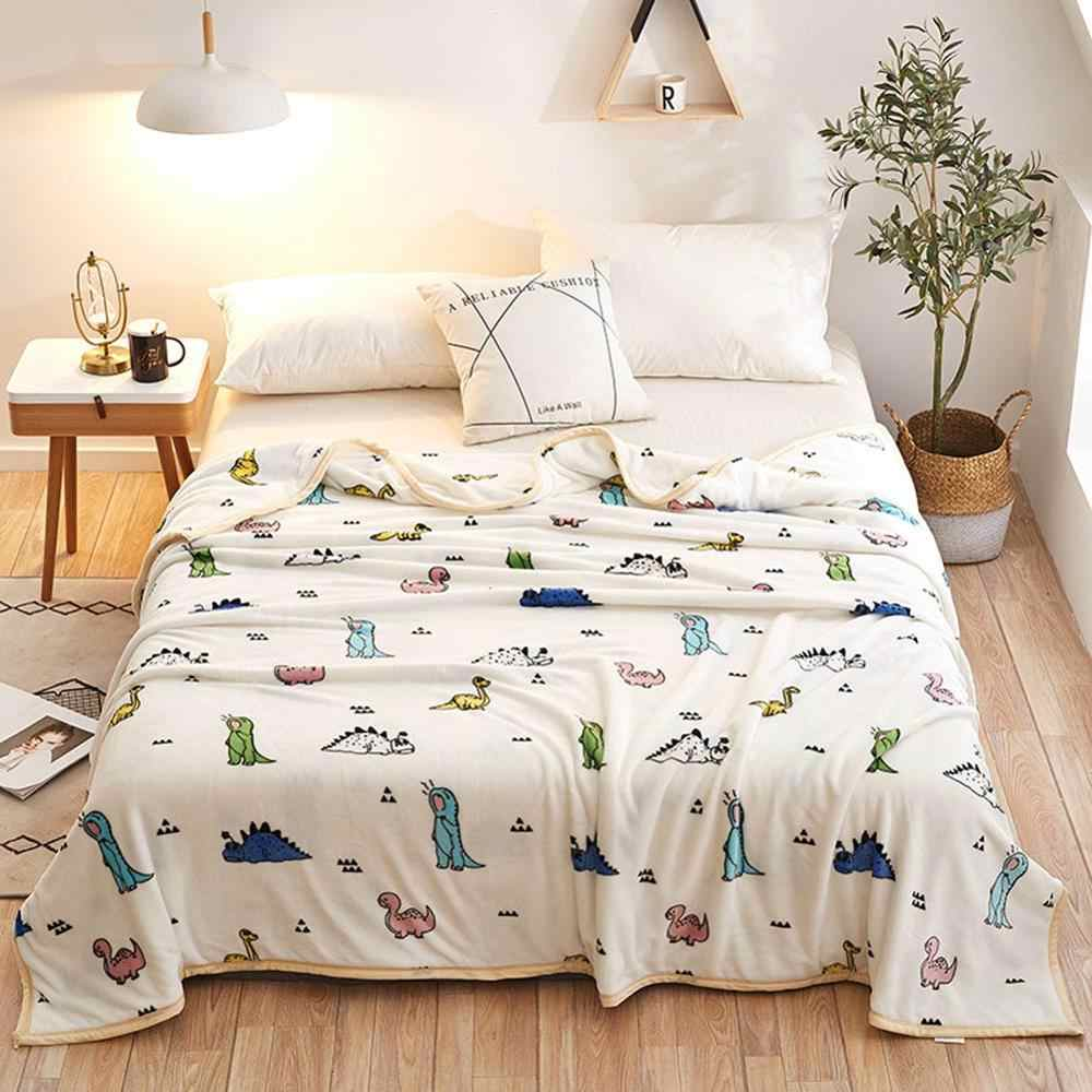 2019 Cartoon Colorful Dinosaurs Soft Print Double-side Blankets Throws Flannel Fleece Microfiber Plaids Bedsheet Polyester