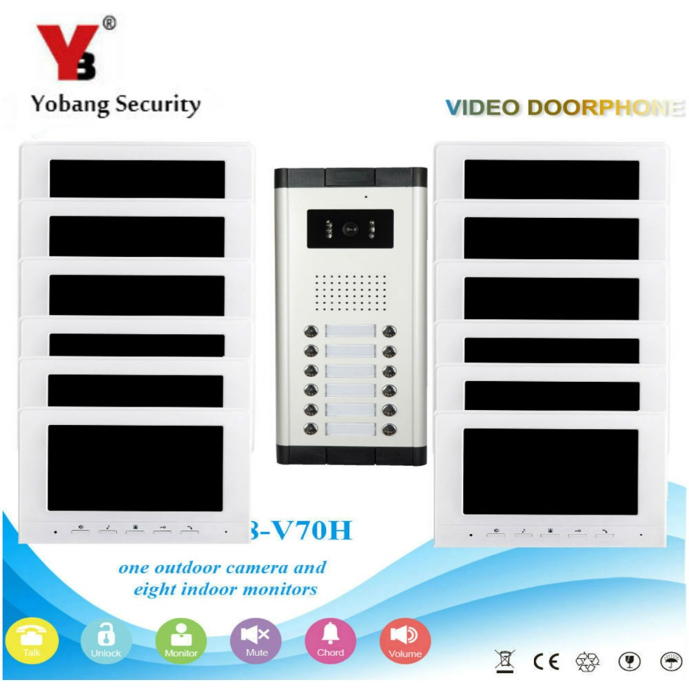 Yobang Security Visual Home Video Intercom 7'Inch Monitor +1000TVL Camera Video Doorbell Unlock Intercom System For 12 Apartment yobang security free ship 7 video doorbell camera video intercom system rainproof video door camera home security tft monitor
