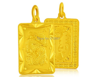 New Arrival 999 24K Solid Yellow Gold Pendant / Bless Dragon Oblong Pendant / 5.36g