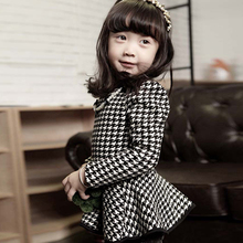 Baby Girls Long Sleeve Pearls Necklace Shirt Dress Kids Bow Houndstooth Shirt clothing tops