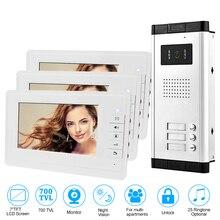 7 Video Door Phone Doorbell Intercom Entry System 3 Units Monitors + 700TVL IR Camera Doorphone for 2/3/4/6 Home / Apartments