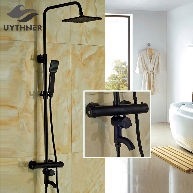 Uythner Newly Wall Mount 8 Thermostatic Shower Set Faucet Oil Rubbed Bronze Rain Bath Shower Tap Tub Faucet