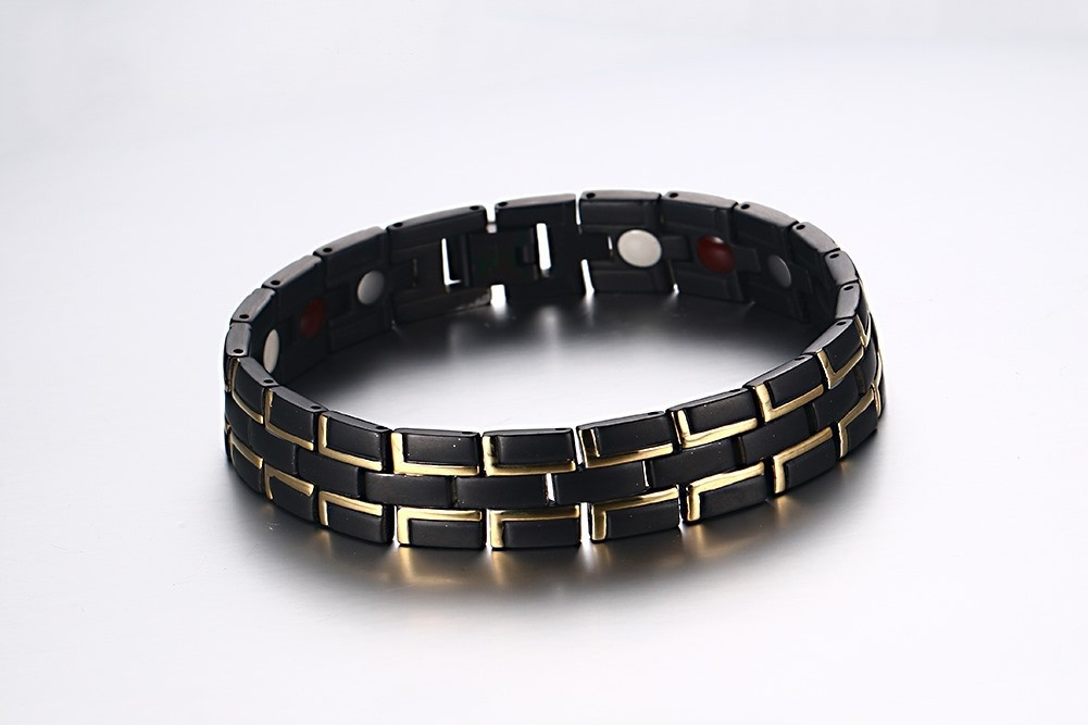 2019 hommes en acier inoxydable noir Bracelet magnétique hommes en acier inoxydable hommes Bracelet énergie Germanium Bracelet hologramme - 4