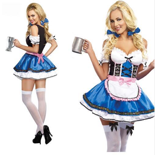 Donne Sexy Beer Girl Oktoberfest Bavarese Costume Festival Carnival Party Fancy Dress Bar Maidien Abbigliamento
