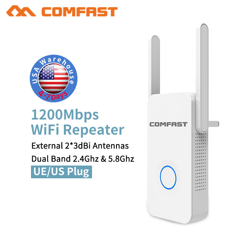 купить 2.4G / 5G WiFi Repeater Signal Booster Dual Band AP 1200Mbps Wireless AC Extender Router Amplifier WPA With 2 High Gain Antennas недорого