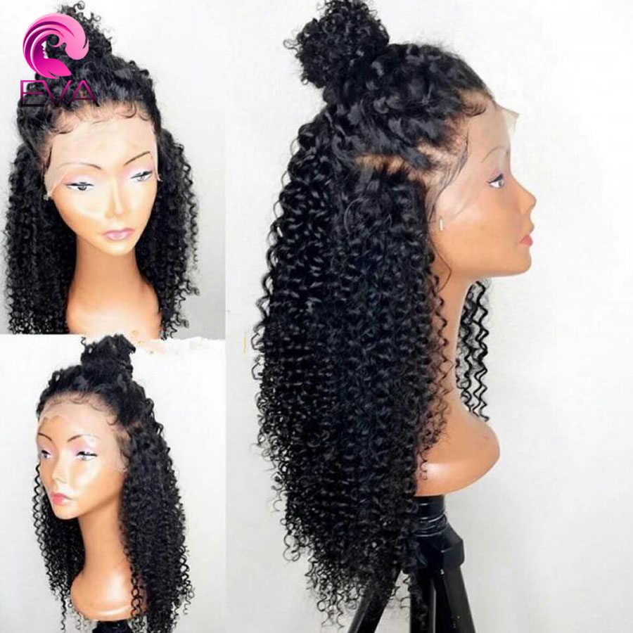 130% o 150% de densidad rizado pelucas de cabello humano de encaje completo nudos blanqueados brasileño nudos blanqueados con el pelo del bebé Remy Eva pelo