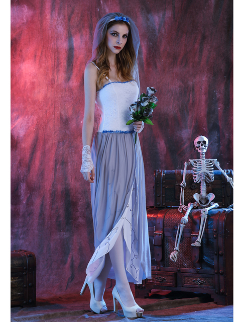 MOONIGHT Ghost Bride Dress Sexy Gothic Manor Zombie Wedding Corpse Costume Adult Costume Halloween 3