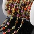 5 Метров Смешанная Красный оранжевый Нефрит Грановитая Бисера с позолоченными Проволоки, Свернутой Цепи, Ожерелье браслет Ювелирных Изделий Оптовая