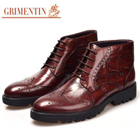 GRIMENTIN men shoes leather boots casual black brown lace up luxury crocodile men ankle boots for business