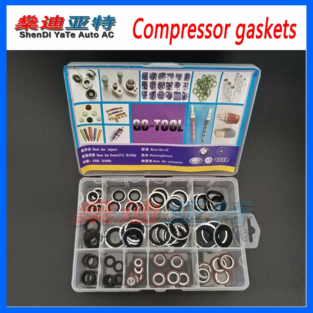 ShenDi YaTe Auto AC Car Automotive Air Conditioning Compressor Gasket O Ring Repair Seals 65pcs set