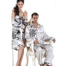 Элегантный шелковые пижамы атласа пижамы с длинным рукавом пара комплект шелка Pijama мужские шелковые пижамы(China (Mainland))