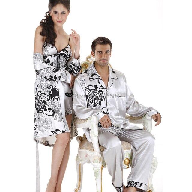 Elegant Silk Pyjamas Mens Satin Pajamas Long Sleeve Couple Pajamas Set Silk Pijama Mens Silk Sleepwear