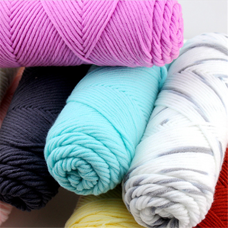 Lovely Creative Natural Soft Long Stapled Cotton Yarn Thick Yarn For Knitting Baby Wool Crochet Yarn Weave Thread 100g/pcs