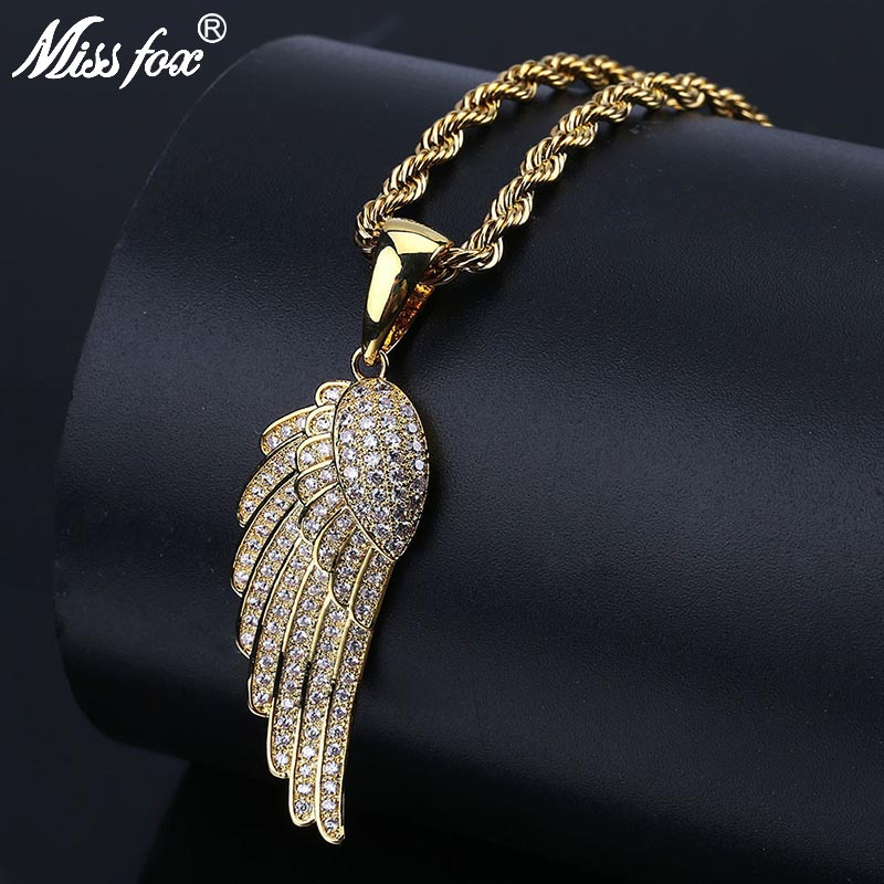 MISSFOX Hip Hop Angel Wings Mens Necklace Chain Iced Out Valentine'S Day Gift Luxury Brand Engel Feather Necklaces Pendants