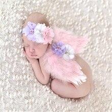 Asas de anjo Bebê Menina Flores Headband Do Cabelo Bandas de Cabeça Acessórios de Sessão de Fotos Para Recém-nascidos Hairband Fotografia Props