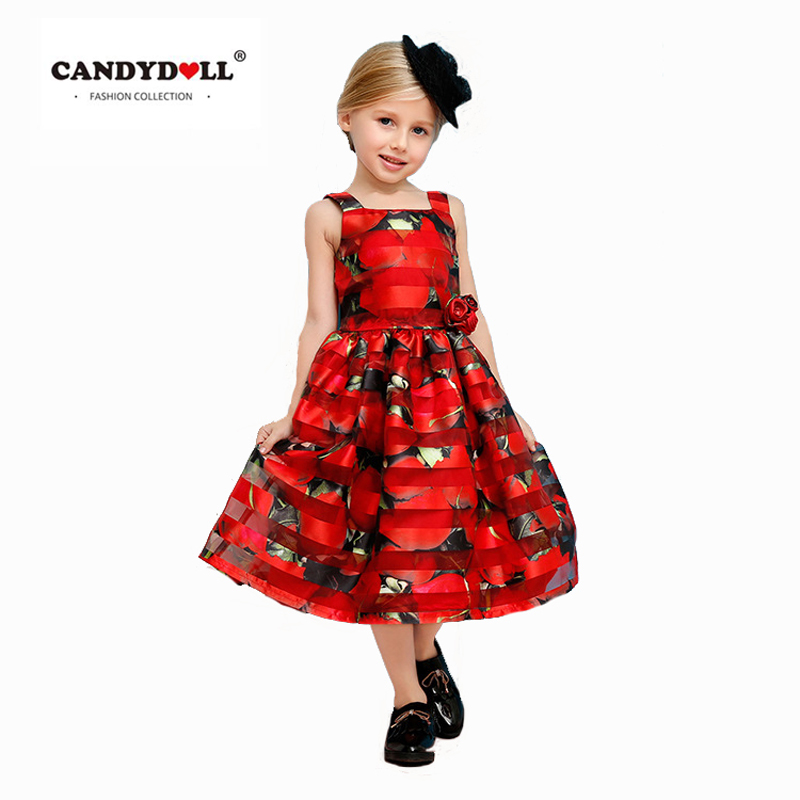 New Summer Gilrs Flower Dresses Baby Tribute Silk Princess vestido Kids Vest Sleeveless Print Ball Gown Clothing For Party