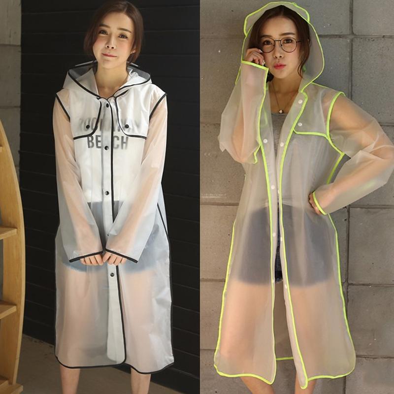 2017 Nova Moda das Mulheres Transparente De Plástico Eva Meninas Viagem Capa De Chuva Poncho Adulto capa de Chuva Ao Ar Livre Impermeáveis à prova de água