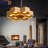 IWHD Wood LED pendant Lights Modern Creative 6 Heads Gourd Pendant Lamp Nordic Style Fashion Iluminacion Living Room Lampen