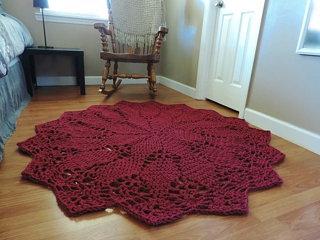 Giant Crochet Doily Rug In Red Geometric Rug Ruby Red Round Rug