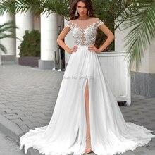 Robes de mariée en mousseline de soie, ligne A, robe de mariée Boho Sexy, transparente, col haut, manches courtes, avec des Appliques en dentelle Chic, boutons au dos