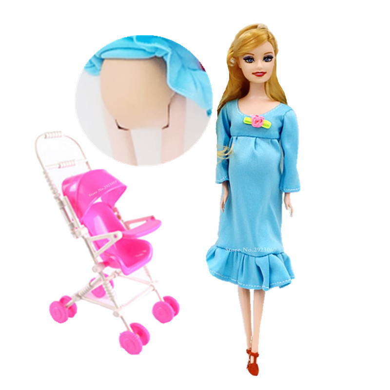 Educational Real Pregnant Doll Suits Mom Doll+Trolley Have A Baby in Her Tummy Best Friend Play with Girls Toys Best Gift XD127 image
