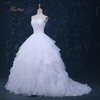 Dream Angel Vestido De Noiva Strapless Ruffles Wedding Dress 2017 Off The Shoulder Appliques Beaded A Line Bridal Gown Plus Size