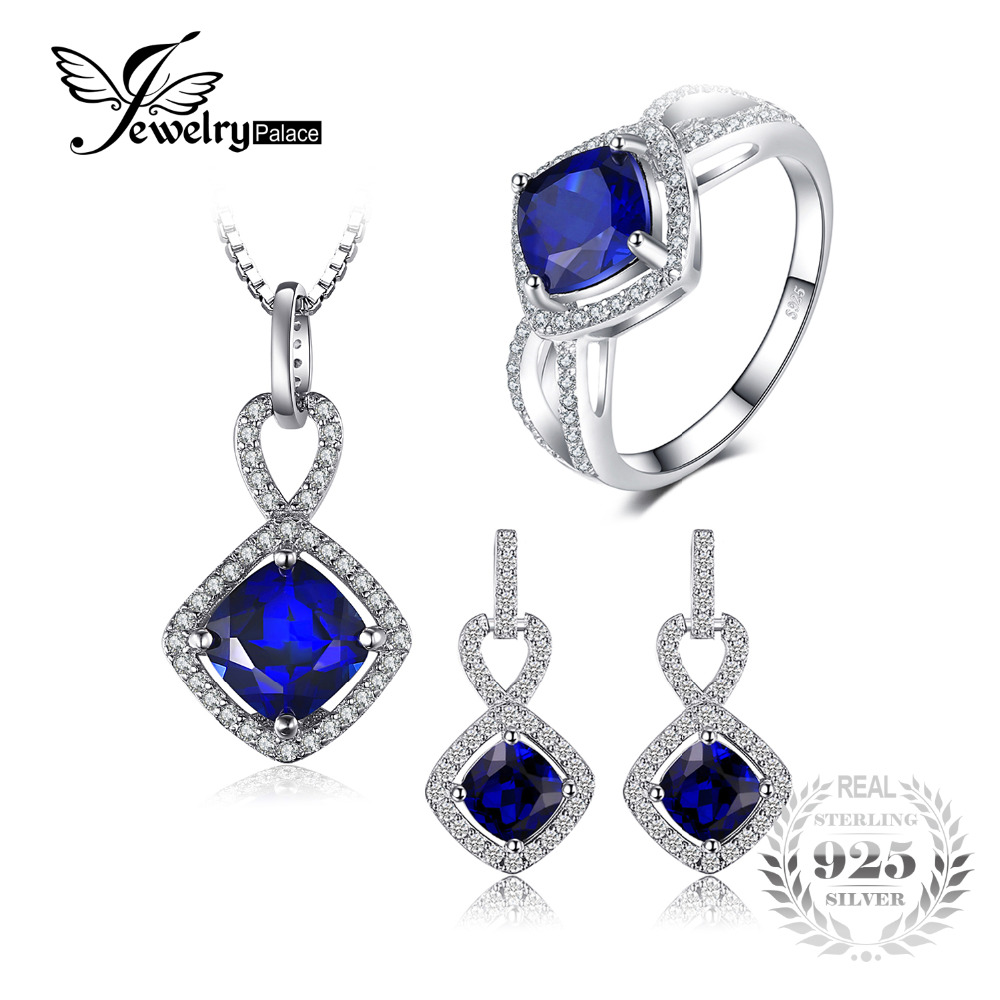 JewelryPalace 6.3ct Cushion Created Blue Sapphire Halo Ring Dangle Earrings Pendant Necklace Jewelry Sets 925 Sterling Silver все цены