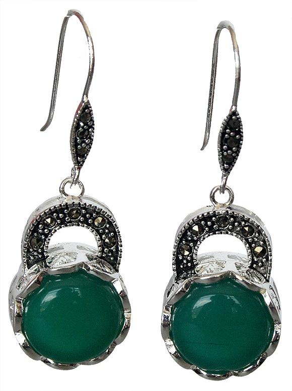 "Vintage Emerald Green Jade Marcasite 925 Sterling Silver Dangle Boucle d/'oreille 1 1//2/"""
